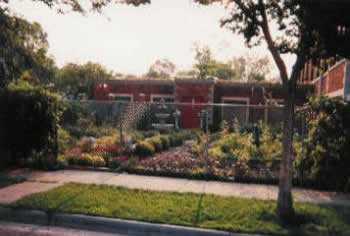 The church garden is located on the northside of the building and in front of the community addition.