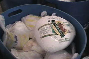 Frozen Turkeys for the Holiday grocery bags.